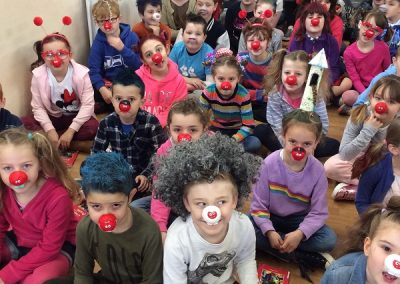 Some of the school with their red noses and mad hair.