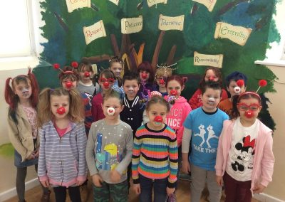 Year 3 with their red noses and mad hair.