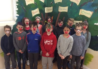 Year 5 with their red noses and mad hair.