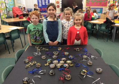 Beech with their firework themed cakes.