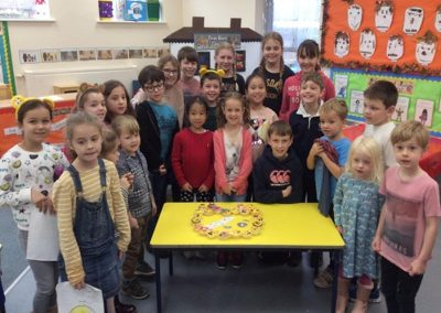 Willow with their Pudsey themed cakes.